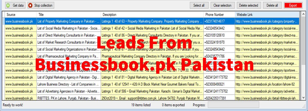 Leads From BusinessBook-pk Pakistan