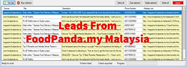 Leads From Foodpanda-com-my Malaysia