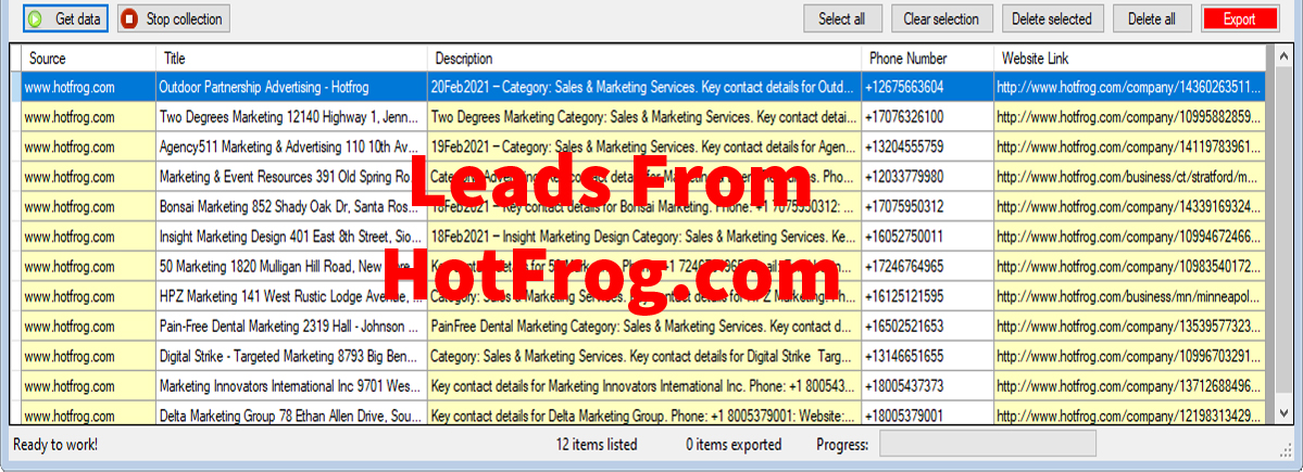 Leads From HotFrog-com