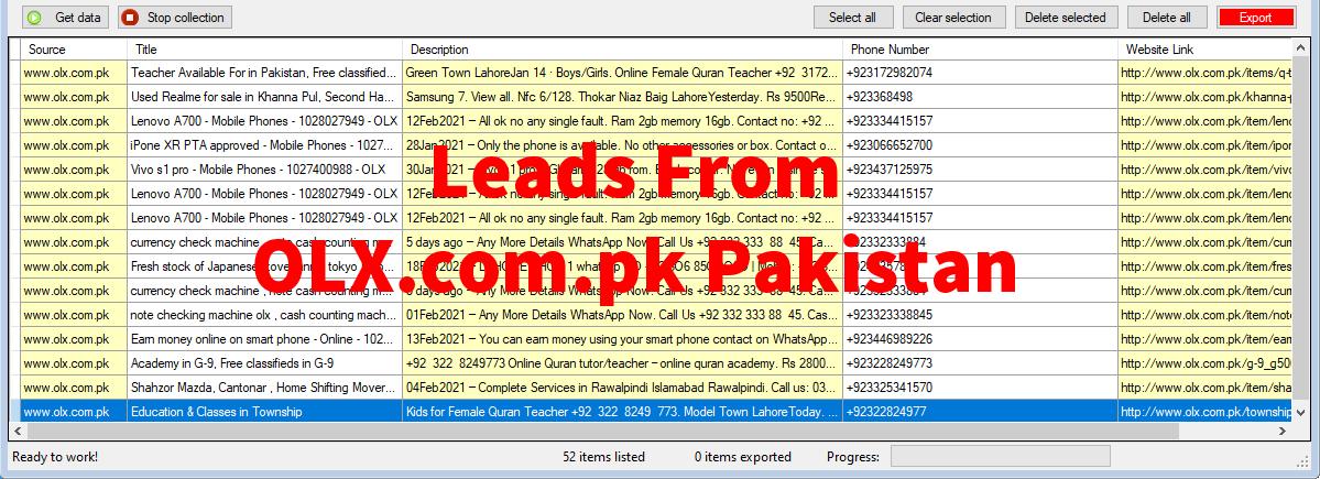 Leads From OLX-com-pk Pakistan