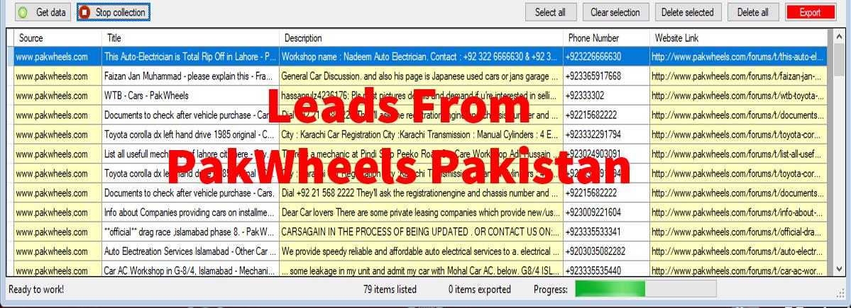 Leads From PakWheels Pakistan